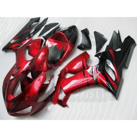 Kawasaki ZX6R fairings 2005 2006 red plastikai