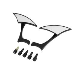 2Pcs Custom Black 8-10MM Blade Spear Rearview Mini Side Mirrors Aluminum Modern Stylish for Motorcyc