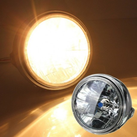 7 Inch Motorcycle Round Headlight Halogen H4 Bulb Head Lamp Side Mount Style 12V For Honda For Kawas